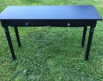 Computer desk,  entry table, black, shabby chic, turned legs FREE SHIPPING