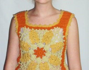 70s Boho Hippie Crochet Sweater Vest  Mustard small