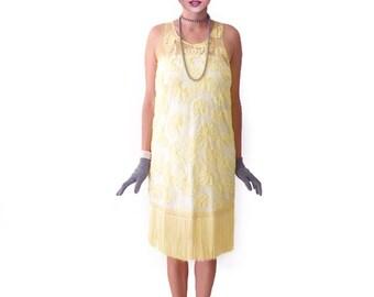Retro 1920s Dress, Flapper Dress, Great Gatsby Dress, Roaring 20s Dress, Downton Abbey Dress, Tassel Yellow Dress, Bridesmaid Dress,Costume