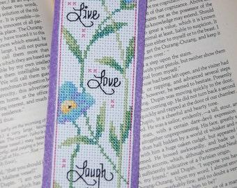 Live Love Laugh Cross Stitch Bookmark