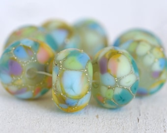lamp work beads... SRA handmade, matte finish, lampwork beads, pastel beads, multicolor beads set of (8) for making jewelry 73016-4