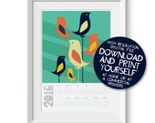 Printable 2016 Calendar Print Retro Mid Century Modern Birds Illustration