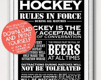 Printable Posters Hockey House Rules Typographic Chalkboard Art