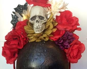 Dia de los Muertos Skull and Flowers Headpiece