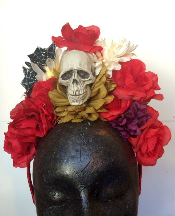 Dia de los Muertos Skull and Flowers Headpiece