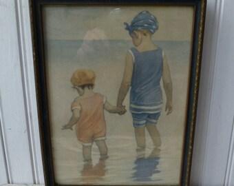 Beach Girls. Jessie Wilcox Smith Framed Print. Vintage Antique 1920s. Sisters Children. Original Frame. Cottage, Beach House, Coastal Decor.