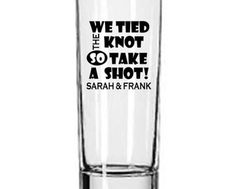 Personalized Custom Wedding Favor Shot Shooter Glasses Names Only Designs