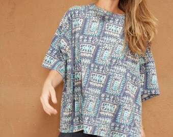 90s HARRING style bright SLOUCHY TRIBAL pattern short sleeve womens shirt