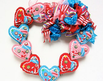 Valentine's Day Wreath Red Blue and Pink Felt Heart Wreath (Approx. 15x12)