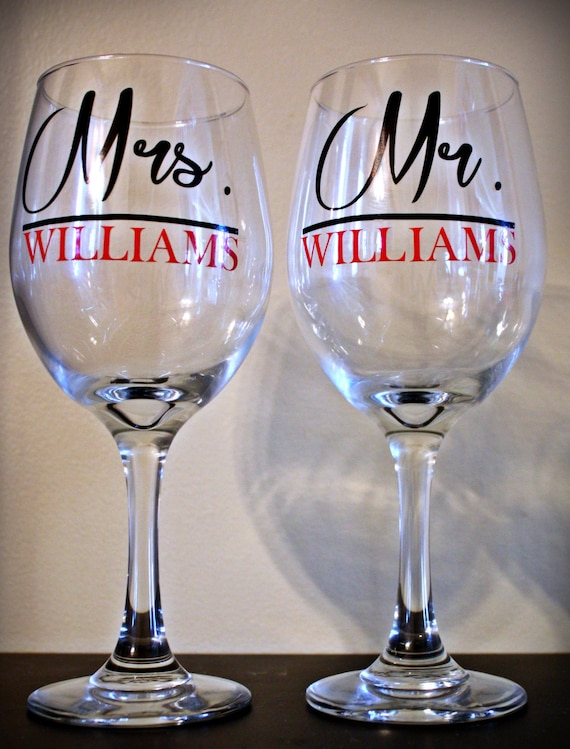 Personalized Wine Glasses, Bride Gift, Groom Gift, Wedding Couple Gift ...