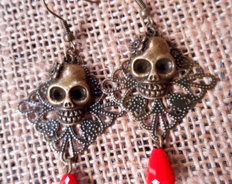 Dia de los Muertos - Day of the Dead Inpired Mexican Jewelry/ Sugar Skull Brass Alloy Earrings with Red Crystal Red Drop Beads