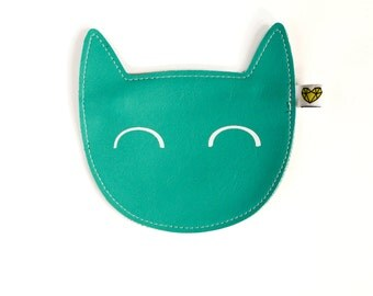Kitty coin purse in turquoise