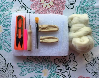 Needle Felting Kit, Now with Scissors, Learn to Felt, Needle Felting Tool, Replacement Needles, Awl, Leather Finger Cots, Foam Pad, Wool