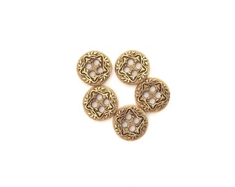 5 Mini Gold Buttons, Star, Stars, Flower, Flowers, Tiny Buttons