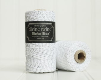 CLEARANCE SALE - 1 Spool (240 yds) of Silver and White Metallic Baker's Twine - 4-ply, 100% Cotton, Gift Wrap, Packaging, Scrapbooking, etc.