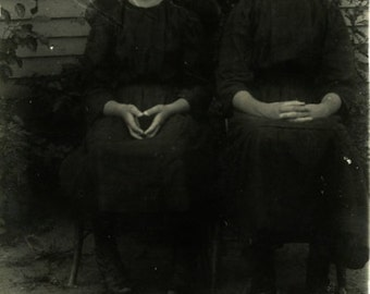 """Vintage Real Photo Postcard """"The Sisters of East Wick"""" Girls Antique RPPC Photo Black & White Photography Paper Ephemera Collectible - 124"""