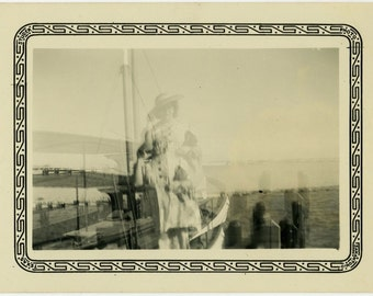 "Vintage Photo ""Sailing Twins"" Double Exposure Snapshot Photo Old Antique Photo Black & White Photograph Found Photo Paper Ephemera - 168"