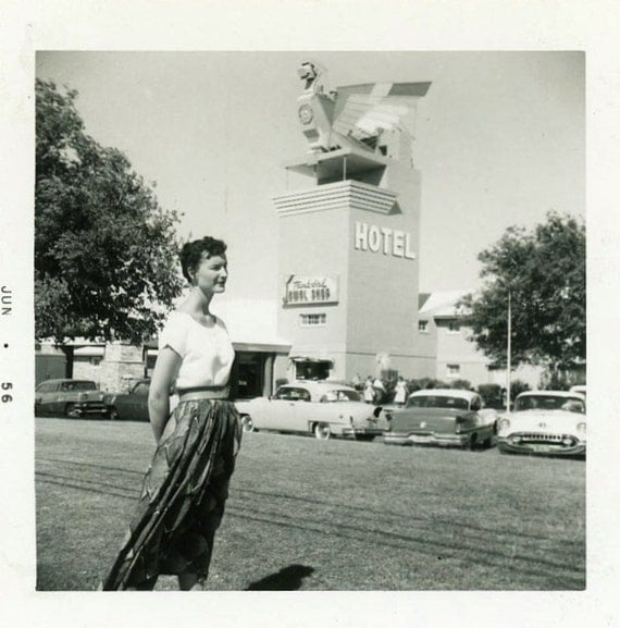 "Vintage Photo ""The Hotel Hostess"" Sign Advertisement Snapshot Antique Photo Black & White Photograph Found Paper Ephemera Vernacular - 163"