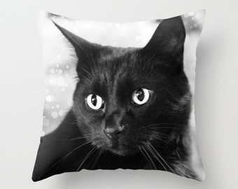 Black Cat Pillow Cover, Black and White, Home Decor, Black and White Pillow Case