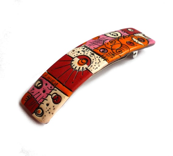 Polymer clay Hair Barrette, handmade polymer clay hair pin, Mosaic red orange pink white with black patina, Made in France hair pin