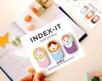 Set of 60 Matryoshka Sticky Notes - Index-it PLAN d - Cute Paper Bookmark for your Erin Condren, Filofax, Kikki K - 3 Designs 20 sheets
