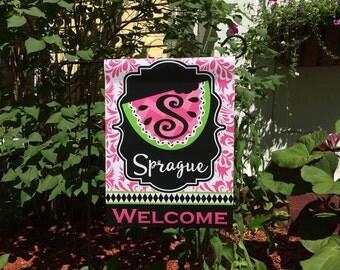 Personalized Monogram Watermelon  Garden Flag Family Name Custom Summer Flag