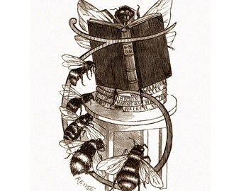 Honey Bees Card | Queen Bee Reads to Workers | Repro Punch Magazine | Vintage Style