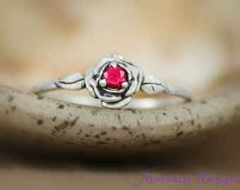 Delicate Red Ruby Rose Engagement Ring in Sterling - Silver Diamond Alternative Rose Promise Ring, Commitment Ring - July Birthstone Ring