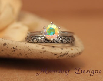 Opalescent Topaz Vintage-Style Classic Solitaire Floral Wedding Band Set in Sterling - Engagement Ring Set with Tendril and Vine Fitted Band