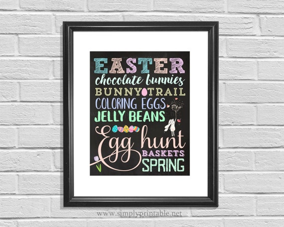 Easter Wall Print, Easter Decor, 8x10 Wall Sign, Spring Decor, Easter Subway Art, Digital Printable, Instant Download, Easter Words