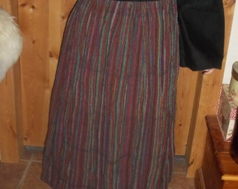 skirt in striped homespun fabric