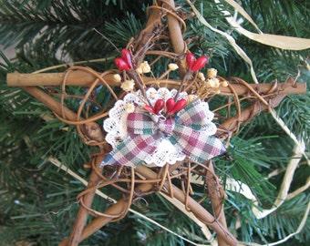 Twig Star Christmas Ornament, Primitive Twig Star Ornament, Rustic Ornament, Country Christmas, Tree Decor, Holiday Star SnowNoseCrafts