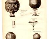Hot Air Balloon Aeronautics Antique Book Plate Print 1885 - Vintage Book Illustration Home Decor, Collage, Altered Art, Craft Supplies