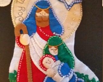 """Finished Felt Christmas Stocking """"Joy to the World"""" 16 inch"""