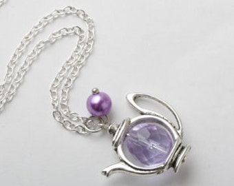 Teapot Necklace, tea necklace, Alice Necklace, tea jewelry, purple teapot necklace, gift for her, Alice in Wonderland, tea lover gift