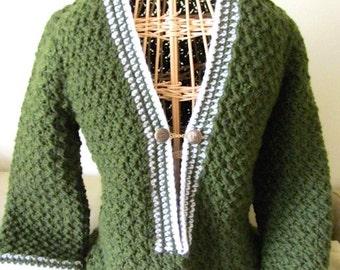 Hand Crochet Jacket, Retro knit jacket, Hipster knit jacket, Hippie knit jacket, Boho knit Sweater, beatnick sweater, 60s knit sweater,folk