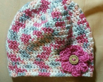 Toddler Size Crochet Hat with Flower (12 Months)