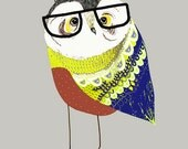 Owl Boy. Art Print - Nursery Decor - Kids Wall Art - Illustration Print - gift ideas.