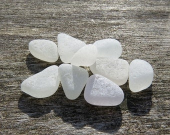 Small Grade A White Sea Glass Triangles, Maine, Genuine Seaglass, Authentic Natural, Jewelry, Mosaic, Handpicked Collection of Beach Glass