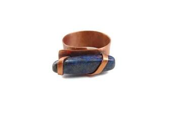 Boho Ring, Copper Lapis ring, Lapis Lazuli ring, lapis ring, Lapis boho ring, blue ring, copper blue ring, blue copper ring, gemstsone ring,