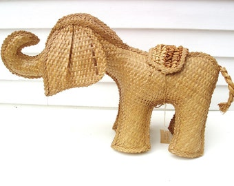 Vintage Wicker Elephant, Baby Elephant Nursery Decor, Natural Fiber Zoo Animal