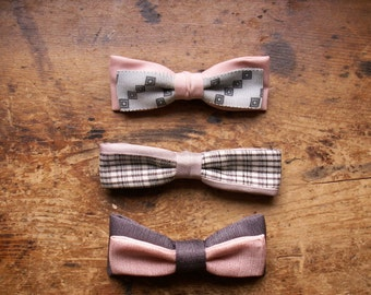 Three Vintage Pink Bow Ties - Perfect For Valentine's Day