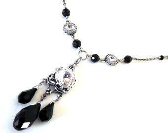 Chandelier necklace, black and white, Austrian crystal clear rhinestones black teardrops, beaded chain, antiqued silver, black white jewelry