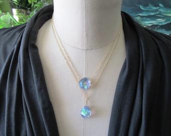 Raw Crystal Necklace -  Opal Blue Aura Quartz Gold Filled Minimalist Jewerly