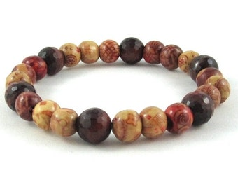 Summer Outdoor Festival Fashion Beaded Bracelet, Men Wood Bracelet, Boho Painted Wood Beads Bracelet, Healing Protection Crystals Tiger Eyes