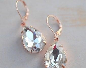 Crystal Clear Bridesmaid Bridal Earrings Vintage Estate Style Rose Gold Jewelry Wedding Jewelry Drop Earrings Dangle Earrings Gift Idea