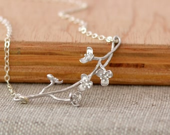 Silver Cherry Blossom Branch Necklace, Sterling Silver Chain, Flower Necklace