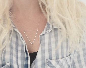 Triangle pendant / hammered triangle necklace / minimalist necklace / v necklace