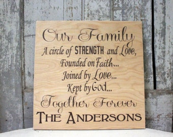 Personalized Family Names Sign Our family is a circle of strength, Family Quote, Housewarming, Wedding Gift, Extended family