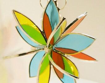 Stained glass 3D Flower Twirl aqua orange yellow garden art outdoor sculpture home decor